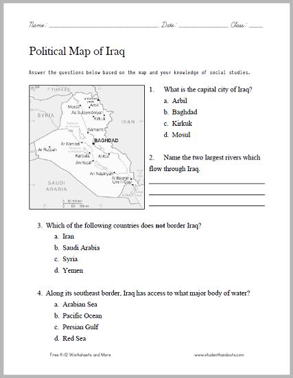 Iraq Political Map Worksheet - Free to print (PDF file).