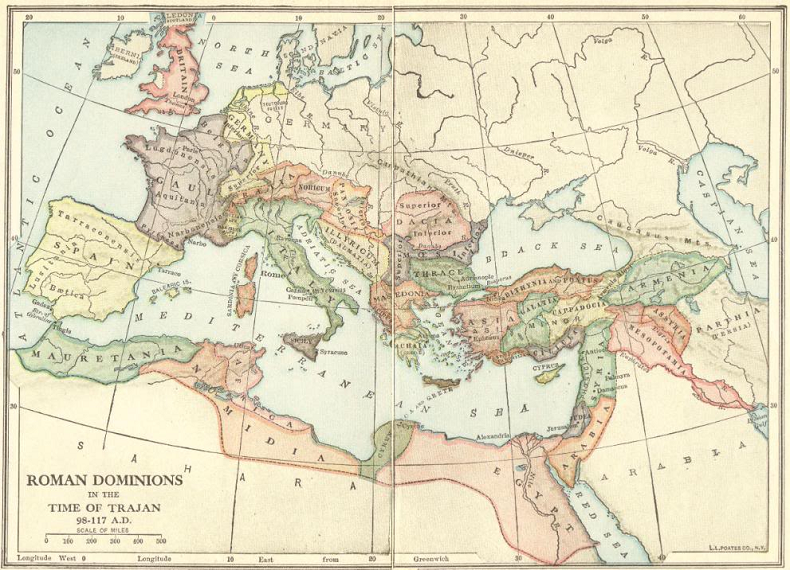Map of the Roman Empire Under Emperor Trajan