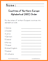 Northern European Countries ABC Order Worksheet