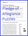 Pledge of Allegiance Puzzles Worksheet
