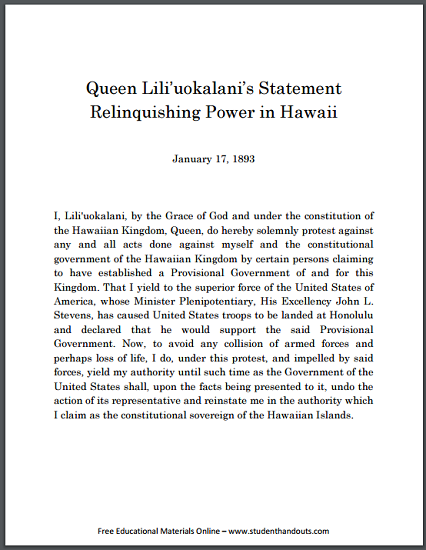 Queen Liliuokalani's Statement Relinquishing Power in Hawaii - Free to print (PDF file).