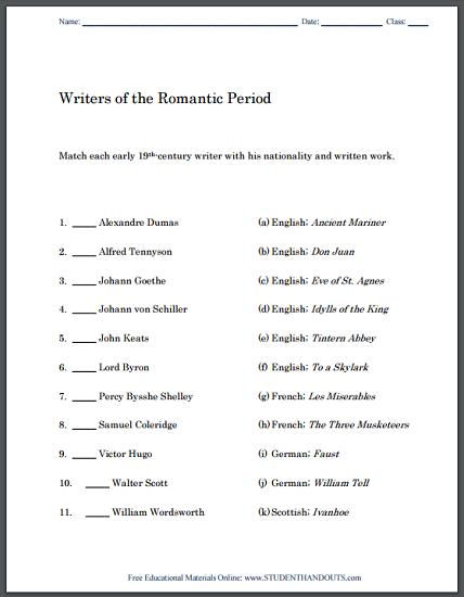 Romantic Period Writers: Matching Worksheet