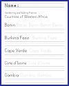West Africa Handwriting & Spelling Worksheets