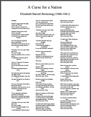 """""""A Curse for a Nation"""" by Elizabeth Barrett Browning"""