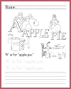 A is for Apple Pie Writing Worksheet