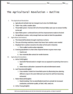 The Agricultural Revolution - Outline - Free to print (PDF file).