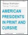 American Presidents Handwriting Worksheets