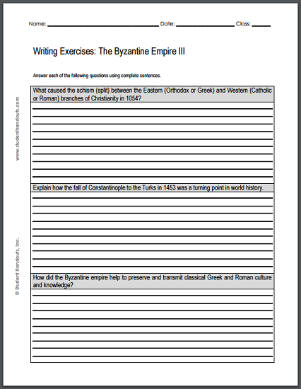 click here to print this sheet of essay questions on the byzantine empire pdf. Black Bedroom Furniture Sets. Home Design Ideas
