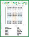 Tang and Song Dynasties Word Search Puzzle