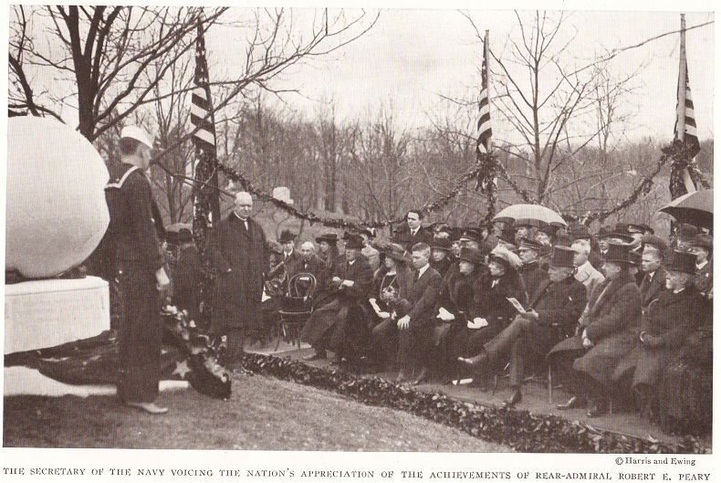 The U.S. Secretary of the Navy Edwin C. Denby (1870-1929) voicing the nation's appreciation of the achievements of Rear-Admiral Robert E. Peary.
