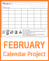 February Calendar Project Worksheet for Grades 1-3