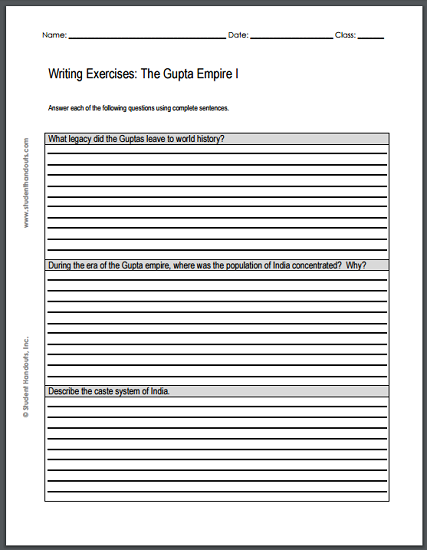 gupta empire writing exercises sheet 1 free to print pdf file. Black Bedroom Furniture Sets. Home Design Ideas