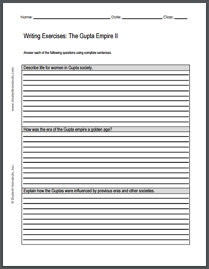 Gupta Empire Writing Exercises Sheet #2 - Free to print (PDF file).