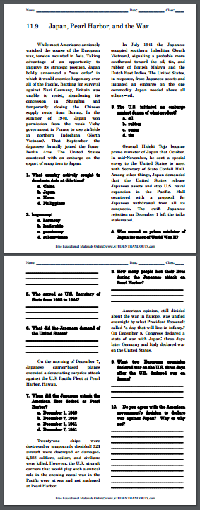 Japan, Pearl Harbor, and the War - Free printable reading with questions (PDF file) for high school American History students.