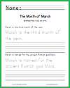 K-2 March Handwriting Practice Worksheet