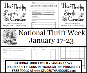 National Thrift Week, January 17-23: Free Educational Materials for Teachers and Parents