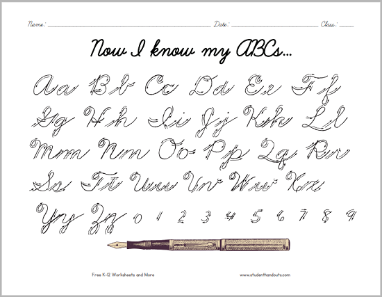 graphic regarding Printable Cursive Alphabet identify Cursive Script Alphabet with Arrows College student Handouts