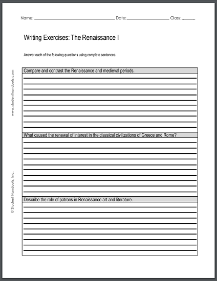 renaissance writing exercises sheet 1. Black Bedroom Furniture Sets. Home Design Ideas