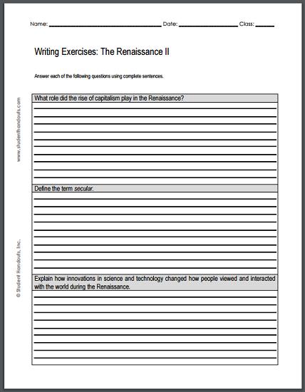 Renaissance Writing Exercises Sheet #2 - Free to print (PDF file).