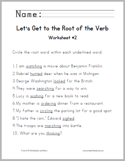 Let's Get to the Root of the Verb Worksheet #2