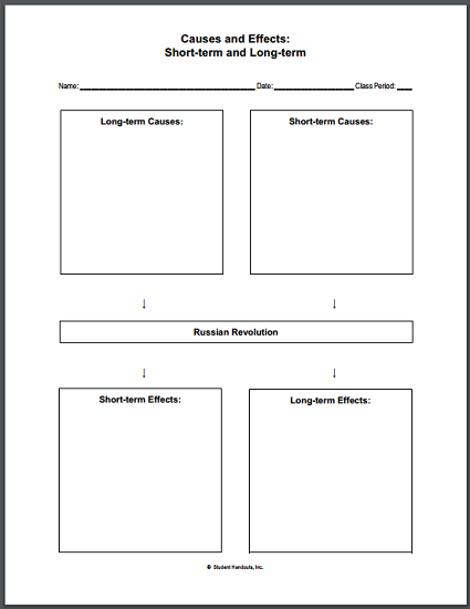 Russian Revolution Causes And Effects Worksheet Student