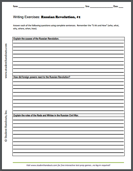 Russian Revolution Writing Exercises Handout #1 - Free to print (PDF file).