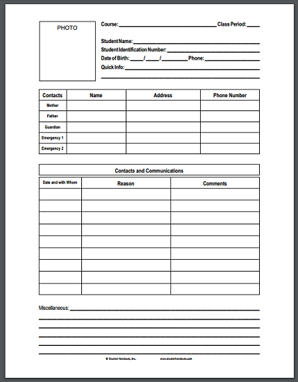 Free Printable Student Information Form For Teachers Student Handouts