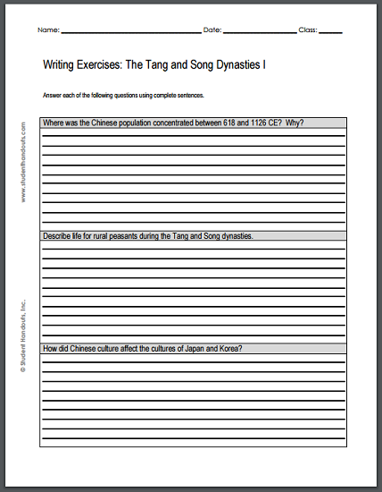 Tang and Song Dynasties Writing Exercises Sheet #1