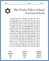 Twelve Tribes of Israel Word Search Puzzle