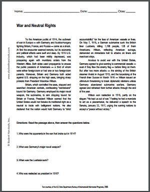 War and Neutral Rights - Reading with questions is free to print (PDF file) for high school American History classes.