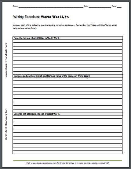 World War II Writing Exercises Sheet #3 | Student Handouts