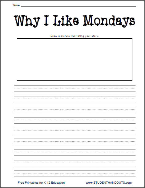 Why I Like Mondays Printable Lined Writing Prompt Worksheet