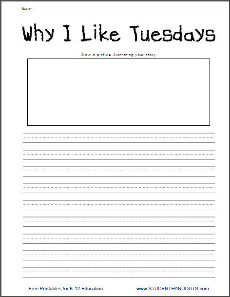 Why I Like Tuesdays - Free Lined Writing Prompt Worksheet