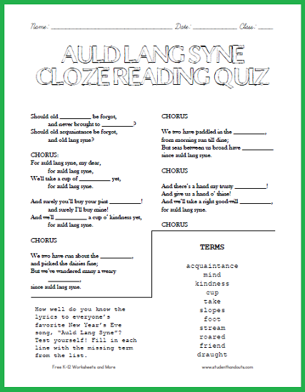 Obsessed image with regard to auld lang syne lyrics printable
