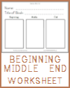Beginning, Middle, End Worksheet