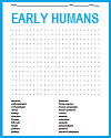 Early Humans Word Search Puzzle
