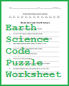 Earth Science Decipher-the-Code Puzzle Worksheet