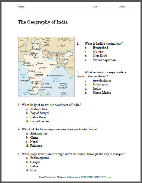 geography of india printable map worksheet student handouts. Black Bedroom Furniture Sets. Home Design Ideas