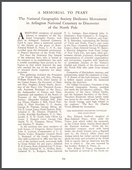 This is an article from National Geographic (1922) on the monument erected in Arlington National Cemetery to the late Rear-Admiral Robert E. Peary, who is credited with being the first person to reach the North Pole.