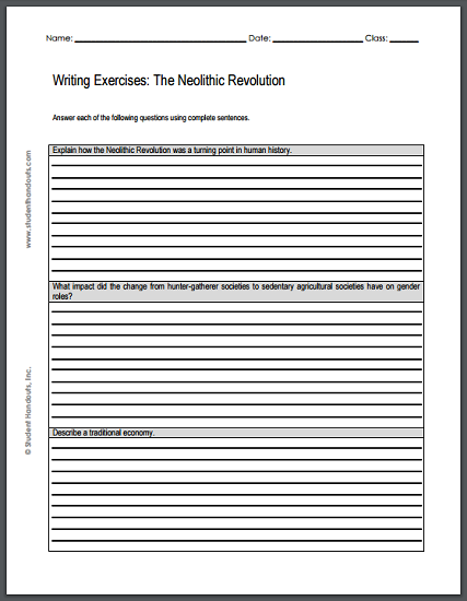 Neolithic Revolution Writing Exercises - Free to print (PDF file) for high school World History students.