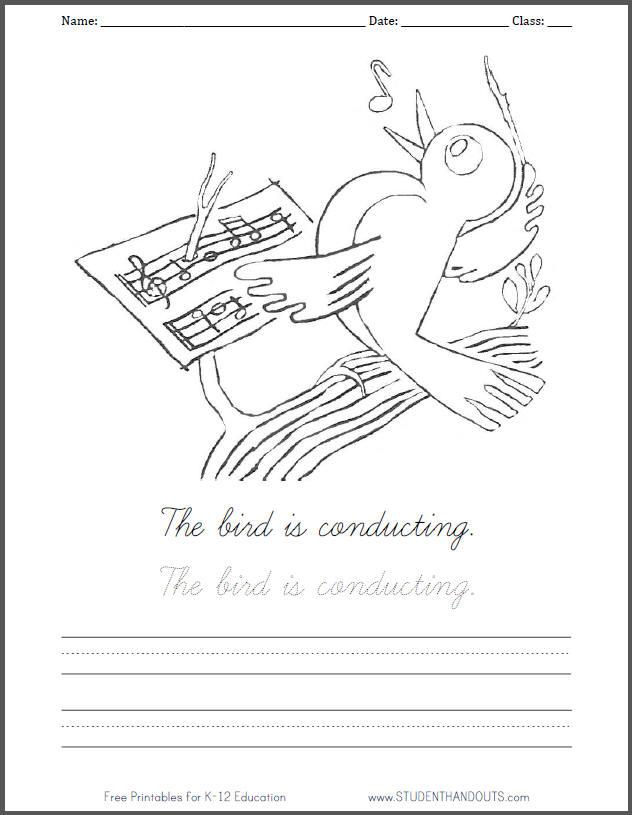 Bird Conducting Music Coloring Sheet