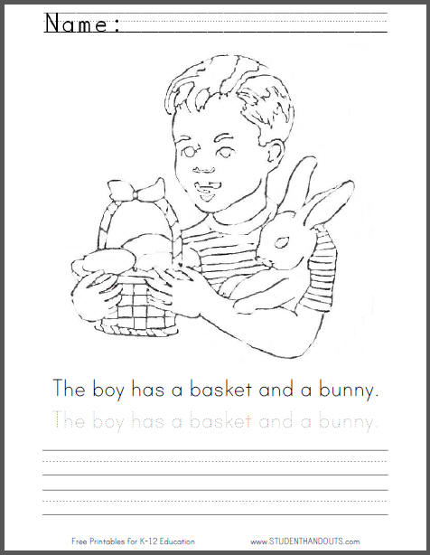 Boy with Bunny and Basket Coloring Page