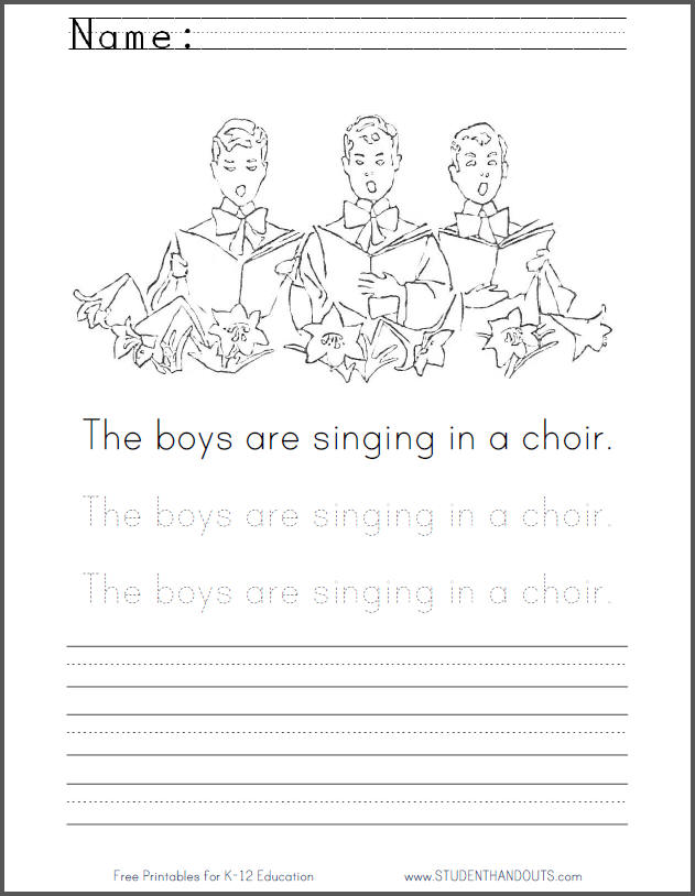 The boys are singing in a choir. Coloring Page for Kids with Handwriting Practice