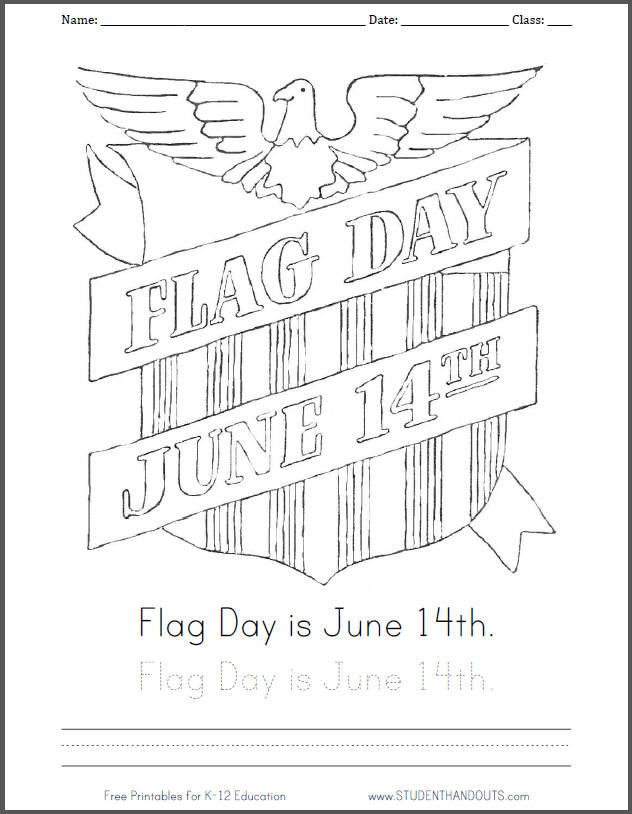 Free Printable Flag Day, June 14th Coloring Sheet | Student Handouts