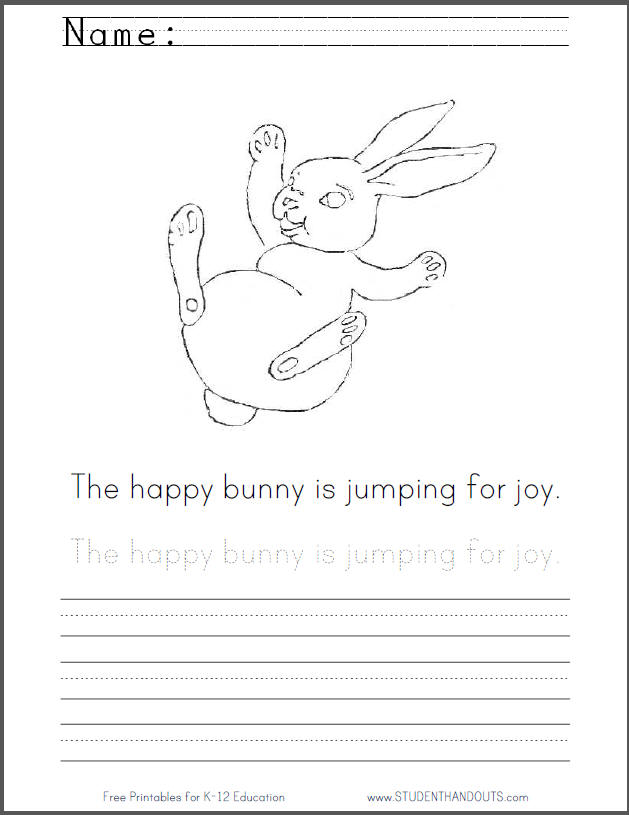 Happy Bouncing Bunny Coloring Sheet with Handwriting Practice