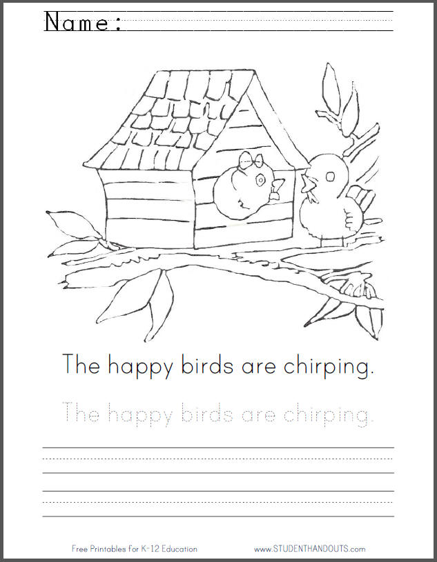 Happy Chirping Birds Coloring Page with Handwriting Practice