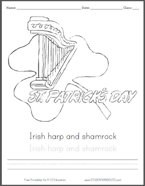 Irish Harp and Shamrock Coloring Sheet for Kids - Free PDF to Print
