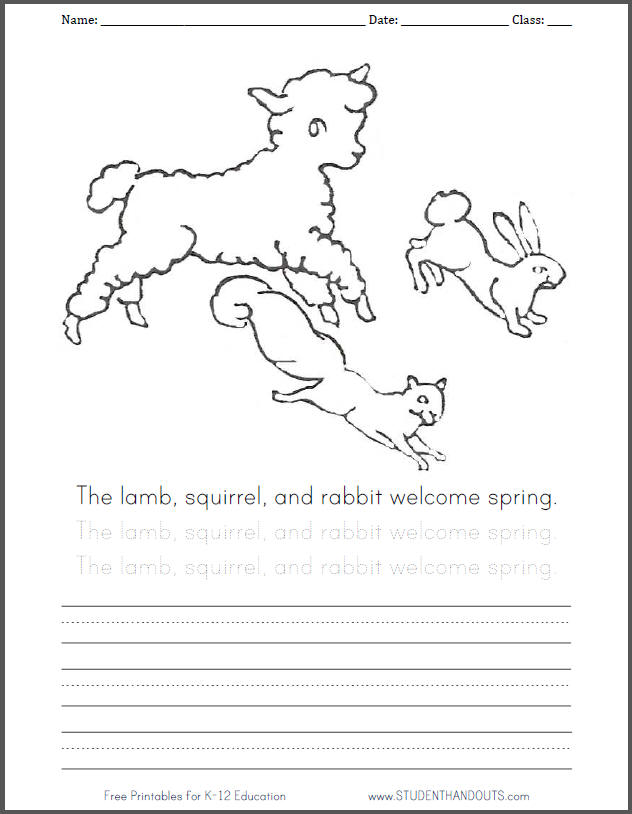 Lamb, squirrel, and rabbit coloring page with handwriting practice.