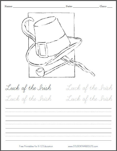 Luck of the Irish Free Printable Coloring Page for Kids
