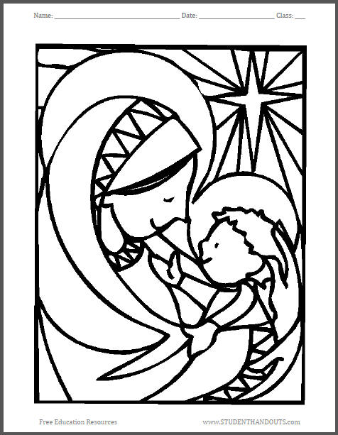 Madonna and Child Christmas Coloring Sheet